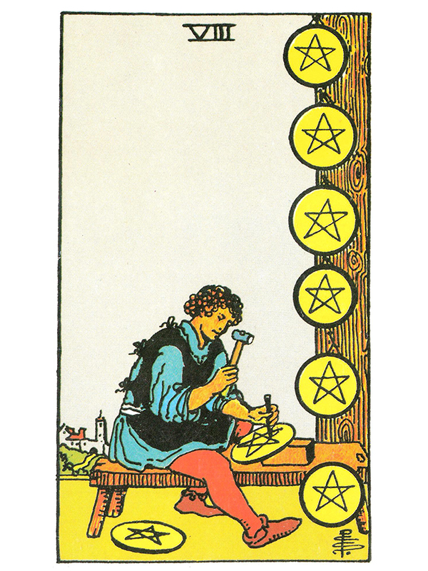 Eight of Pentacles - Crystal Clear Reflections