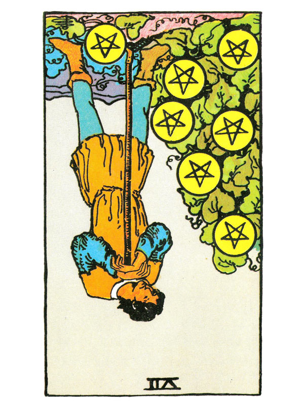 Seven of Pentacles (R)